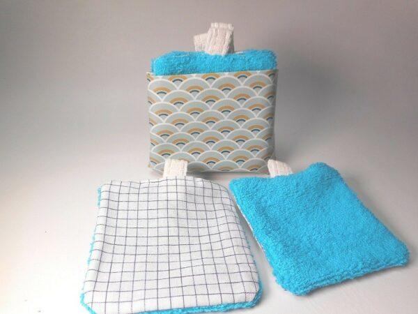 Lingette lavable démaquillante réutilisable bleu