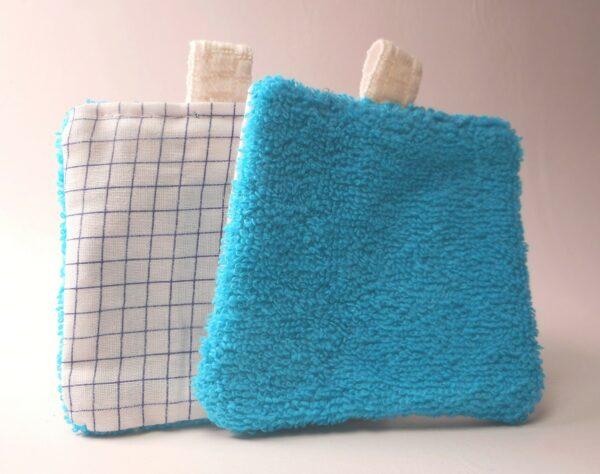 Lingettes lavables démaquillantes réutilisables bleu2